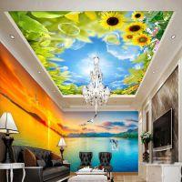 情侣主题酒店壁画 服装店女性PVC墙纸订制 客厅大型风景壁纸魔方壁画公司