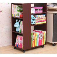现代简易家具 创意书柜儿童实木书架 可移动式办公置物架 收纳柜