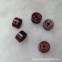 【檀之香】印度小叶紫檀雕件 手工雕刻小钱扣小配件DIY水晶手链