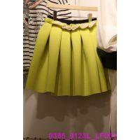 韩国女装代购 东大门进口批发 2015春款纯色A字裙休闲甜美半身裙