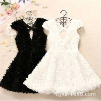 新款童装夏季韩版女童复古立体玫瑰碎花连衣裙 短袖连衣裙