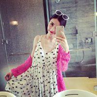 小银子2015春夏新款简约气质街拍星星雪纺吊带连衣裙Q4152