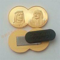 磁铁外国双头像徽章人物头像立体徽章电镀泳金工艺