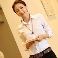 2015春季新款韩版大码纯色雪纺职业打底衫修身显瘦百搭长袖衬衣女