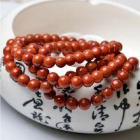 天然凉山南红玛瑙手链手串佛珠108颗南红半满肉柿子红带火焰纹