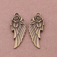 雅亿钢模压铸合金配件古青铜玫瑰花翅膀饰品(100个/包)7631#