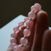 新款原创天然马达加斯加果冻粉晶手链 水晶女手串配925银隔珠