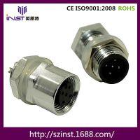 供应 M12 5芯LED 圆形连接器 金属面板式防水航插 防水接头