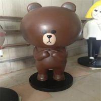 玻璃钢小灰熊雕塑,卡通小熊公仔雕塑,美陈卡通摆件