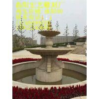 石雕大型欧式喷泉天然黄锈石大理石小区广场装饰景观观赏流水摆件