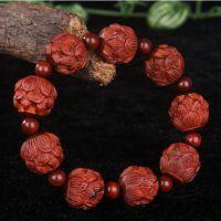 精品印度小叶紫檀2.0cm莲花雕刻手串佛珠木质手链 文玩把玩收藏