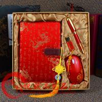 青花瓷笔记本子套装 中国红古典礼品云锦丝绸笔记本定制礼品