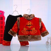 高档儿童唐装棉服套装带帽婴儿两件套男宝宝纯棉唐装套装5177