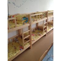 低价定做幼儿园家具幼儿园简易实木双层上下床,大林宝宝