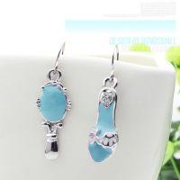 厂家直销韩版耳环批发 蓝色小镜子高跟凉鞋子甜美风格耳环3800-1