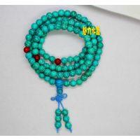 绿松石108颗佛珠手链加红玛瑙隔珠手饰批发