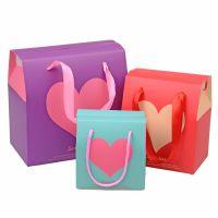 厂家供应印刷精美白卡纸婚庆爱心喜糖盒折叠盒手提礼品纸盒定做
