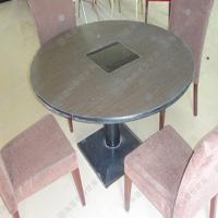 实木电磁炉火锅桌促销 地中海风餐厅火锅桌 多人位火锅桌椅热卖