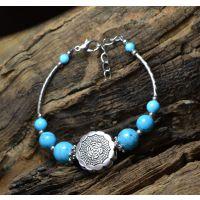 原创民族风复古商品批发 小额混批 云南西藏藏银绿松石手链SL089