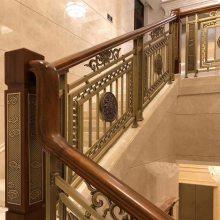 坚固耐用金铝雕花楼梯扶手护栏安全舒适品种多样化上门安装