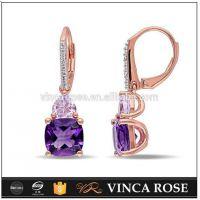 Quality and fashion Edge Fashion purple crystal stone jhumka earrings jewelry