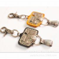 复古金属 牛皮钥匙扣 合金电镀手工 创意小商品 钥匙挂件礼品