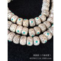 【厂家直销】A货 男女款干磨顺白高密度正月镶嵌绿松石手链