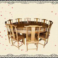实木榆木仿古大元餐桌中式雕花园桌1.2-1.4-1.5-1.6-1.8-2米 圆桌