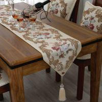 新款高档桌旗欧式奢华金丝刺绣立体提花茶几布现代桌布床位巾盖布
