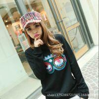 2015新款韩版女士线料 春夏平顶帽子 棒球帽色彩格批发一件代发
