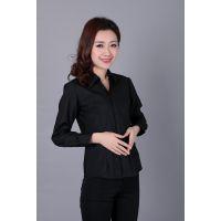 2016春装新款V领时尚OL通勤修身黑色女式长袖职业装混纺衬衫SAN WISH
