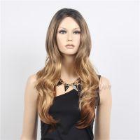 深圳假发批发欧美流行女士发套渐变色蓬松长卷发进口丝假发出口