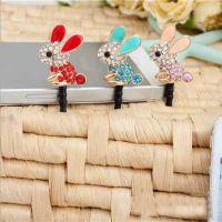 合金镂空镶钻小兔子手机防尘塞 Ebay速卖通淘宝货源 ALCP2014004