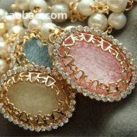 夏装新款 甜美气质时尚珍珠链琥珀石钻石百搭项链女