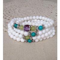 纯天然白砗磲紫晶绿松石混搭手链 108颗白砗磲佛珠手链