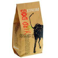 供应定制产品牛皮纸咖啡豆铝箔袋 内加透气阀咖啡袋 500g四边封袋