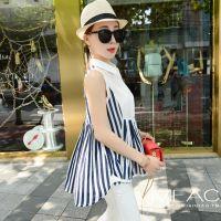 2015春季新品韩版 时尚大牌蓝白条纹不规则镂空拼接衬衫