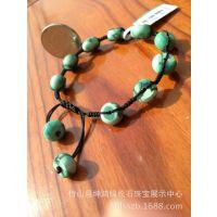 【厂家直销】 绿松石 手链坤鸿珠宝手工编织幸运之石