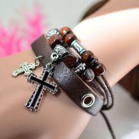 复古饰品 十字架串珠手链 爆款饰品批发 皮手链编织 手链饰品批发