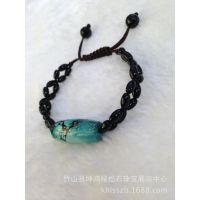 天然绿松石  DIY手链 黑玛瑙配珠