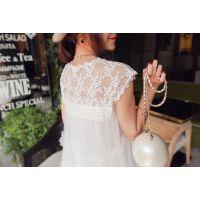 小银子2015夏装新款唯美气质蕾丝拼纱蓬蓬公主连衣裙Q6242