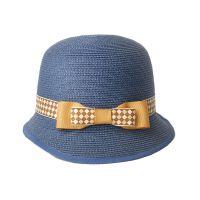 勇发服饰 新款女士时尚潮流蓝色蝴蝶结定型草帽外贸出口定做