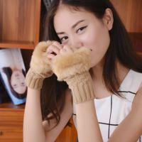 特价韩国冬季新款露指手套半指手套针织毛线手套保暖长手套批发