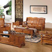 客厅家具 实木沙发 香樟木沙发 高档七件套组合 一手货源厂家直销