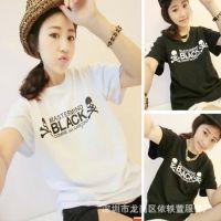 201夏5韩版字母上衣姐妹闺蜜装宽松打底衫潮流短袖t恤