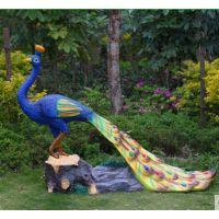 天和雕塑 仿真动物孔雀玻璃钢雕塑公园摆件