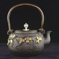 武义鎏金铁壶厂家批发里外无涂层铸铁茶壶葡萄定制龙秀堂品牌