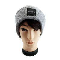 仲达厂家定做秋冬款针织帽 灰色腈纶套头帽 织唛贴布韩版男女毛线帽