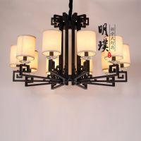 中式吊灯 布艺新中式吊灯 圆形客厅中式吊灯定制品牌
