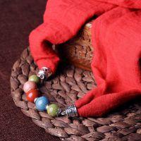 青歌 复古围 手工陶瓷项链女长款毛衣链挂件民族风配饰品